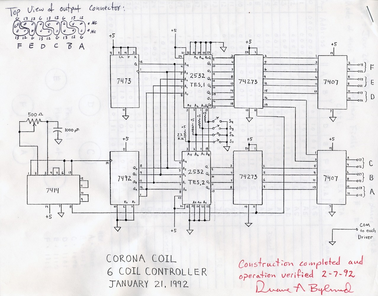 1992 3-phase Tesla coil controller schematic diagram