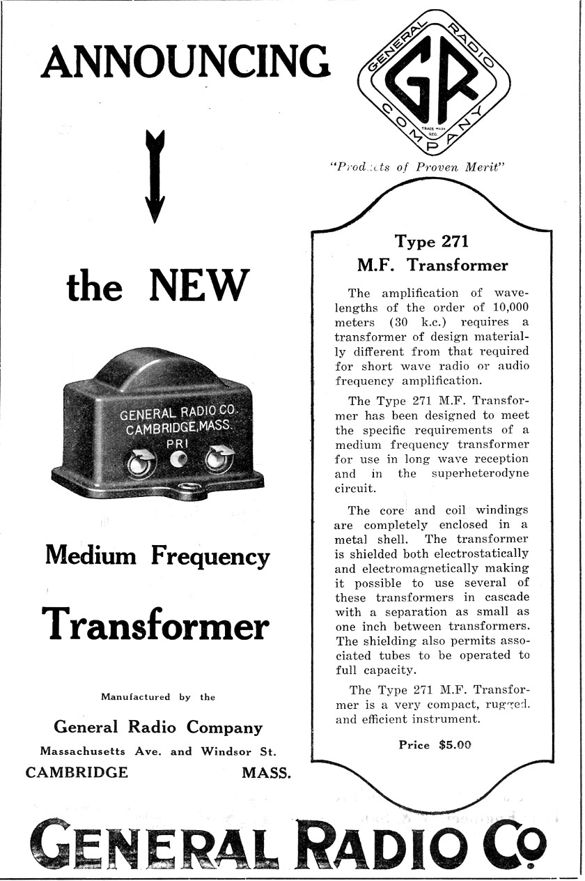 General Radio ad QST June 1924